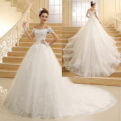 New White/Ivory Lace Wedding Dress Ball Gown Bridal Gowns Size 6-8-10-12-14-16++