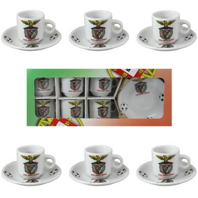 SL Benfica Set Of 6 Espresso Cup and Saucers With Gift Box
