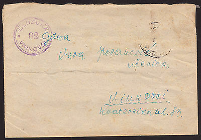 Croatia, NDH, Cover Sent to Vinkovci with nice Vinkovci #82 Censor Marking