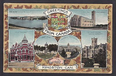 Circa 1913 Patriotic Vintage Postcard Greetings from KINGSTON Ontario Canada