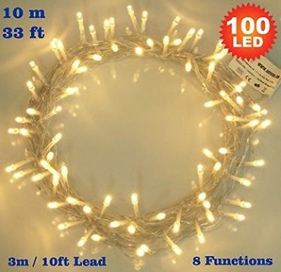 Fairy Lights 100 LED Warm White Indoor Christmas Tree. 8 functions Bright White