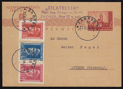 Croatia, NDH, Postal Card Sent from Zagreb to Switzerland by a Stamp Dealer