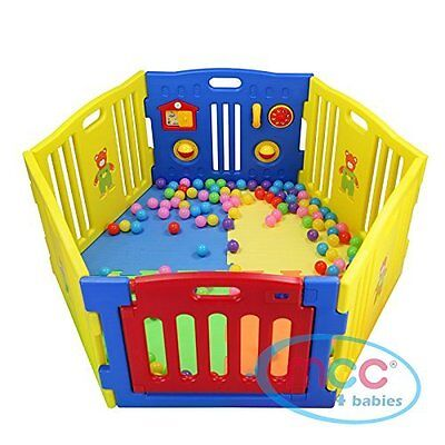 MCC Plastic Baby Playpen with Activity panel 6 Sides + Optional Accessories
