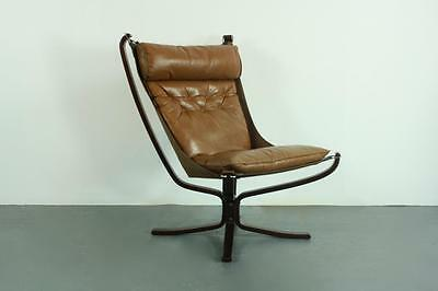 Vintage Brown Leather Falcon Chair By Sigurd Resell Ressell High Back #2033