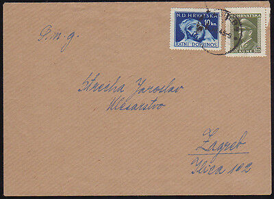 Croatia, NDH, Printed Matter Cover Sent Locally in Zagreb in 1945, War Tax Stamp