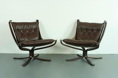DANISH PAIR OF FALCON CHAIRS SIGURD RESSELL RETRO 60s 70s MIDCENTURY BROWN #2035