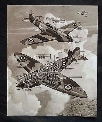 ca 1940s WWII Magazine Page ~ Great Britain Spitfire & Defiant Fighter Planes