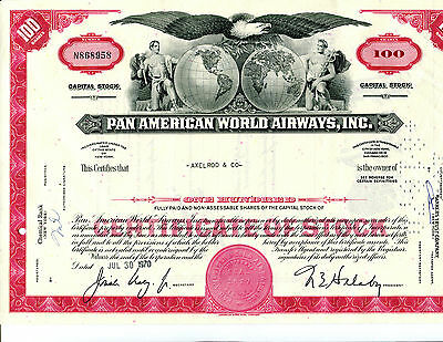 100 Share Share Pan American World Airways. Inc Stock Certificate