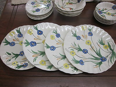 "4 Vtg Blue Ridge Pottery Chicory Blue Yellow Flower 9 1/2"" Dinner Plates    BX21"