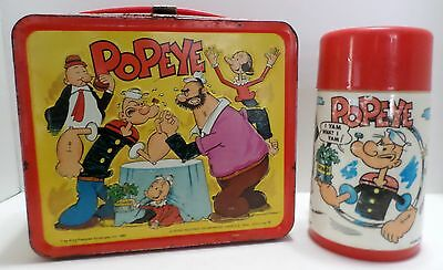 Vintage 1980 Popeye Metal Lunch Box With Aladdin Thermos