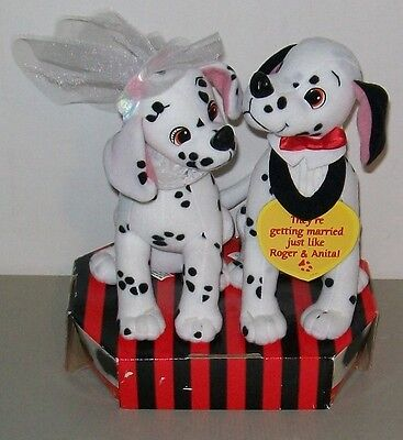 "101 Dalmatians Wedding 8"" Pongo & Perdy Plush Stuffed Dogs NIB"