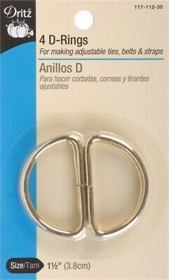 "Dritz 117-112-35  Metal ""D"" Rings 1-1/2"" 4/Pkg-Gilt (6Pk)"