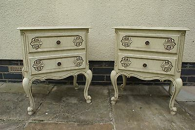 Pair Of Vintage French Painted Bedside Tables / Cabinets Hf8-6