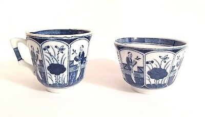 Antique 18c Chinese Blue and white Porcelain Tea Bowl Cup x2 KANGXI