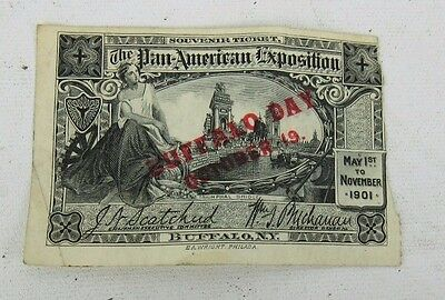 1901 Oct 19 Pan American Exposition World's Fair Ticket Buffalo Day As Is