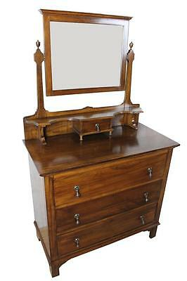 Antique Arts and Crafts Walnut Dressing Chest of Drawers with Mirror