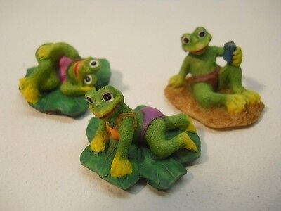 Frogs on Lilly Pads 3 Pc Set Figurine Collectibles #Fig638