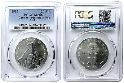 20 Mark 1983 Luther East Germany Pcgs Ms68 Pop 7