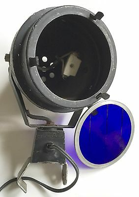 "VINTAGE 1960's STAGE LIGHT 6"" SPOT ~ LIGHTING SERVICES INC. NY  DARK BLUE FILTER"