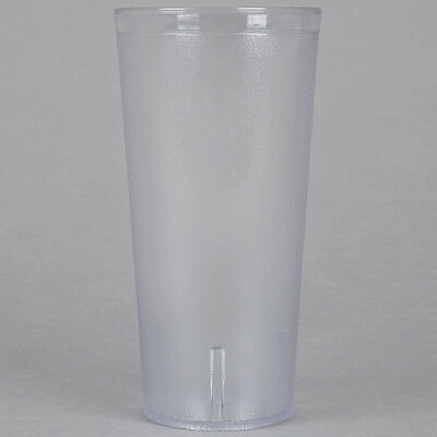 48 PACK 24 Oz Clear Pebbled Plastic Tumbler Commercial Restaurant Cup Glass Case