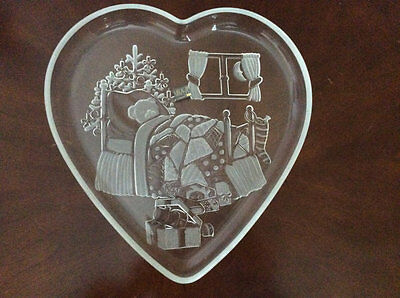 Vintage Mikasa Crystal Heart Partially Frosted Serving Tray, Christmas Dream