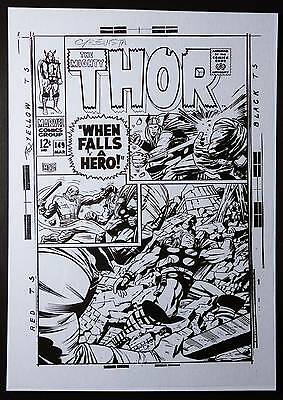 Mighty Thor #149 Acetate By Jack Kirby 1968 Vintage Marvel Comics Production Art