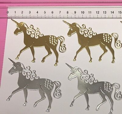 8 x Unbranded 'Magical Unicorn' Die Cuts - 4 Gold 4 Silver Foil Mirror Cardstock