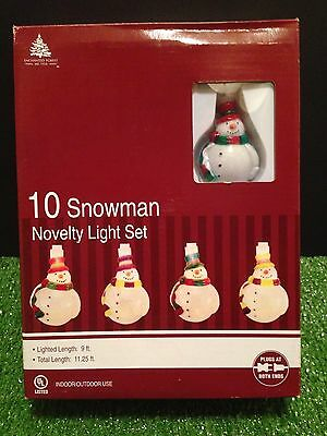 NEW Set Of Ten Christmas Colorful  Blow Mold Snowman Novelty Lights