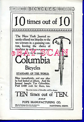 Columbia Bicycle chosen 10 times out of 10 in 1896 fpg ad FLIP more bike ads