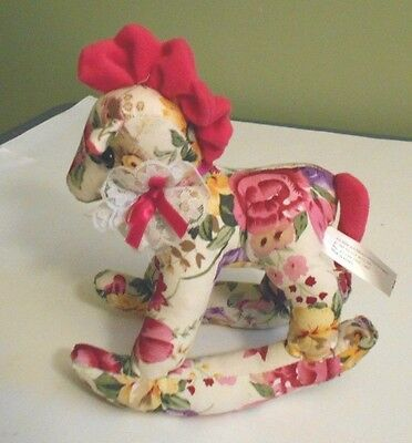 Rockering Horse Stuffed Floral Lace Bow Pink