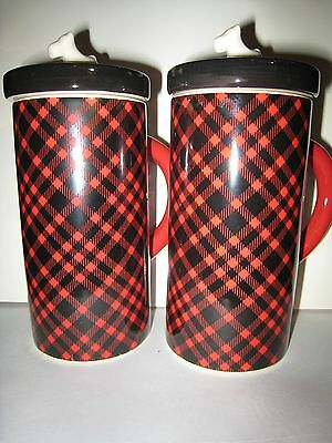 Scottie Dog 2 Mugs Red Plaid With White Scotty Figure On Black Lid, Pair,