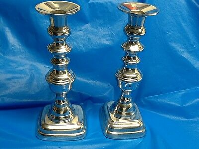 """MOTTAHEDEH silvered brass candlesticks PAIR candle holders 9"""" SET"""