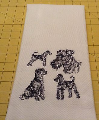 AIREDALE COLLAGE SKETCH Embroidered Williams Sonoma Kitchen Hand Towel