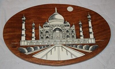 Vintage Wooden TAJ MAHAL India Inlaid Art Picture Wall Plaque very detailled