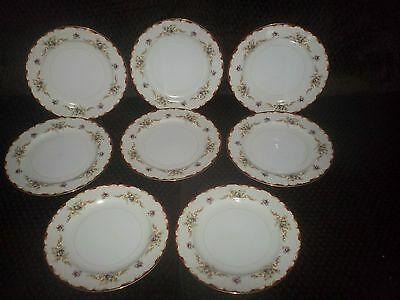 Set of 8 Harmony House Fine China Wembley Dinner Plates EUC