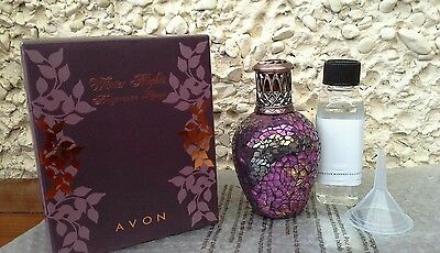 Avon Winter Nights Fragrance Oil Lamp Glass Mosaic New in Box
