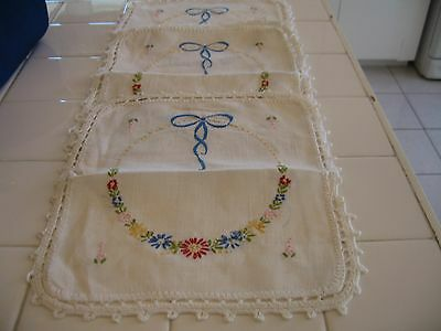 Pretty Set 3 Vintage Embroidered Scarves Doilies With Flowers Bows Crochet Edge
