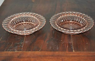 2 Anchor Hocking Block Optic? Pink Depression Glass Cereal Bowls
