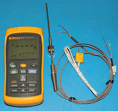 Fluke 54II Dual Input Digital Thermometer & Watlow Thermocouple Sensor Probe