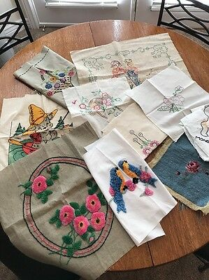 Vintage Needlework, Lot of 10, Raw Edges, Embroidery, Cross Stitch, & More