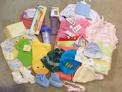 Lot of 32 Baby Items Clothes Booties Bib Hats Feeding Bath Mitt New NWT