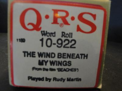 """QRS 10-922 Piano Roll """"The Wind Beneath My Wings"""" from the film """"BEACHES"""""""