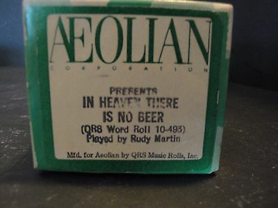 """Aeolian """"In Heaven There Is No Beer"""" (QRS 10-493) by Rudy Martin Piano Roll"""