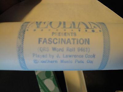 """Aeolian """"Fascination"""" (QRS 9481) Played by J. Lawrence Cook Piano Roll"""
