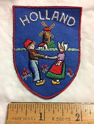 HOLLAND The Netherlands Windmill Man Woman Souvenir Blue Patch Badge