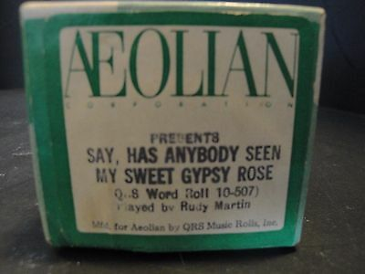 """Aeolian """"Say Has Anybody Seen My Sweet Gypsy Rose"""" (QRS 10-507) Played by Martin"""