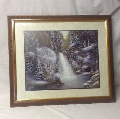 "Home Interior Homco""Big Wolf Eyes in Mountain Scene""Water Fall,Snow""Picture (DS)"