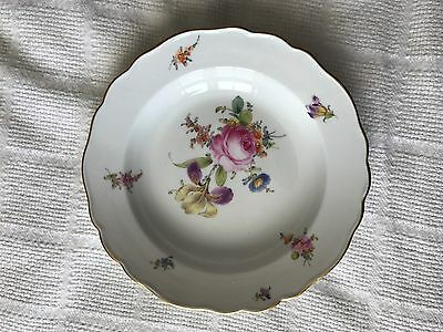 MEISSEN Scattered Flowers White Large Rim Soup Bowl Scalloped Gold Rim 9.5""