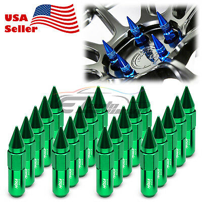 Green 20 PCS M12X1.25 Lug Nuts Spiked Extended Tuner Aluminum Wheels Rims Cap