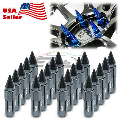 Gunmetal 20 PCS M12X1.5 Lug Nuts Spiked Extended Tuner Aluminum Wheels Rims Cap